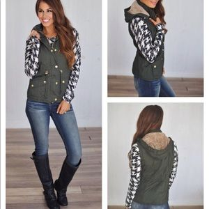 Jackets & Blazers - Olive Fur Lined Vest - Dottie Couture